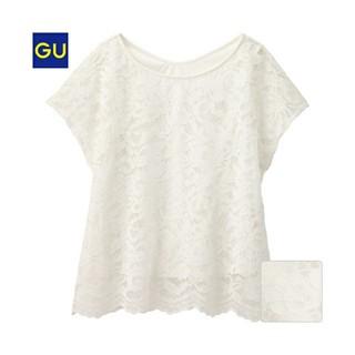 ジーユー(GU)の【GU】レースTブラウス オフホワイト(シャツ/ブラウス(半袖/袖なし))