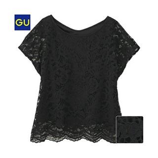 ジーユー(GU)の【GU】レースTブラウス ブラック(シャツ/ブラウス(半袖/袖なし))