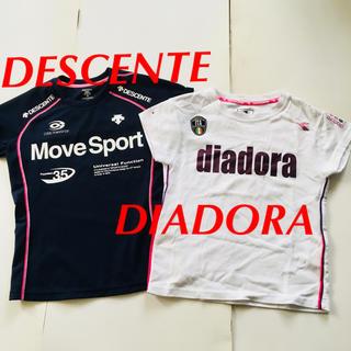 ディアドラ(DIADORA)のTシャツ 半袖 S ポリエステル デサント DIADORA 白 紺(Tシャツ(半袖/袖なし))