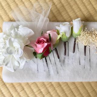 髪飾り、お花とチュール(ヘアアクセサリー)