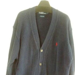 ポロラルフローレン(POLO RALPH LAUREN)のsold out‼ラルフローレンの綿ニット定番の紺色Vカーデ¥3800に値下げ‼(カーディガン)