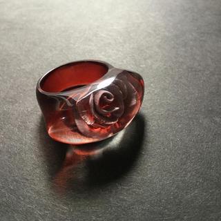 薔薇のリング/指輪/大きいサイズ/16号/彫刻/赤/軽量/ゴスロリ(リング(指輪))