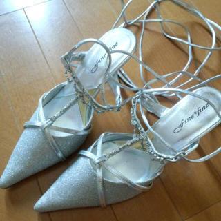 シルバーラメの編み上げミュール(ミュール)