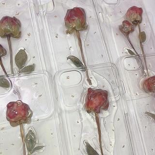 〈ハンドメイド〉ドライフラワー 薔薇iPhoneケース(スマホケース)