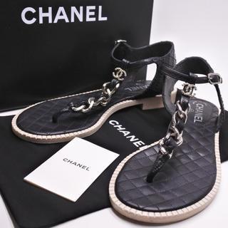 シャネル(CHANEL)のシャネル レディース サンダル シューズ 靴 38C 美品 箱付き チェーン付き(サンダル)