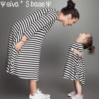 新作! ママ&女の子 ペアルック ボーダーワンピース お揃いコーデ サイズ140(ワンピース)