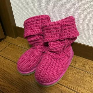 ジーユー(GU)のGU キッズ ニットブーツ 15cm ピンク(ブーツ)