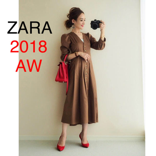 ザラ(ZARA)の新品!ZARA プリーツ入りワンピース ボタン付き ブラウン 茶色(ひざ丈ワンピース)