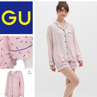 ジーユー(GU)のパジャマ リボン 長袖&ショートパンツ(パジャマ)