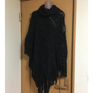 大きいサイズ ゆったりニットポンチョ  コート  黒新品(ポンチョ)