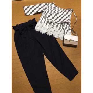 シマムラ(しまむら)の紺 Mサイズ パンツ リボン付き(カジュアルパンツ)