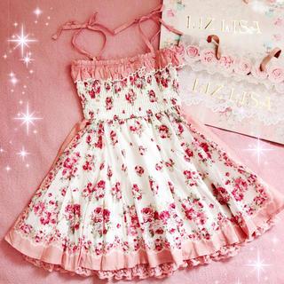 リズリサ(LIZ LISA)の☆リズリサLIZLISA☆胸元フリル付き☆肩リボンバンダナ柄ワンピース新品ピンク(ミニワンピース)