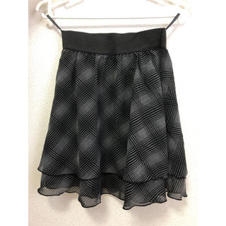 ジーユー(GU)のGU♡ ミニスカート チェック フリル シフォン 黒 ブラック(ミニスカート)