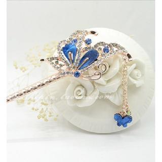 かんざし 髪飾り 一本 アンティーク フラワー 花 蝶 ちょうちょ ブルー 秋冬