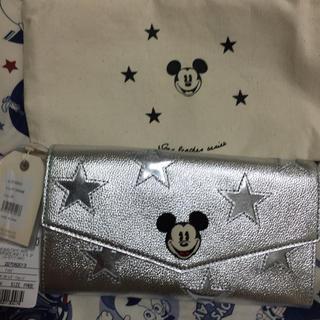 ディズニー(Disney)のアコモデ ミッキースターレザーウォレット シルバー(財布)