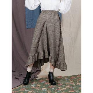 メリージェニー(merry jenny)の今季新作 新品 merry jenny グレンチェックロングスカート ブラウン(ひざ丈スカート)