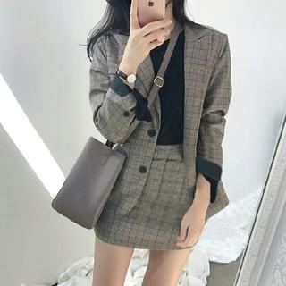 韓国ファッション チェック セットアップ  2点セット    ブラウン