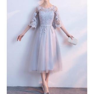 ロングドレス 大きいサイズ グレー(ロングドレス)