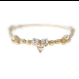 アガット(agete)のagete  アガット ピンキーリング リング k10  YG 美品 ダイヤ(リング(指輪))