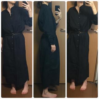 インディヴィジュアライズドシャツ(INDIVIDUALIZED SHIRTS)のインディヴィジュアライズドシャツ 黒ブラック バンドカラーシャツワンピース(ロングワンピース/マキシワンピース)