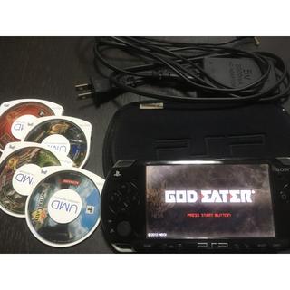 プレイステーションポータブル(PlayStation Portable)のPSP 本体 + ゲーム 5本 中古品(携帯用ゲーム本体)