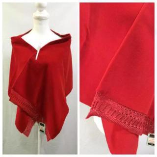 和装ショール 赤 ベルベット(和装小物)