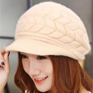 クリーム ふわふわ 可愛い あったか つば付き ベレー帽 もこもこ ニット帽(ニット帽/ビーニー)