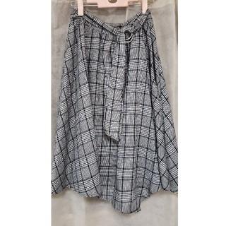 シマムラ(しまむら)の新品未使用 しまむら グレンチェックフレアスカート 巻きスカート 起毛 秋服(ロングスカート)