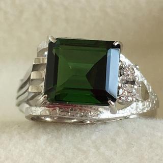 K14WG ダイヤ付きグリーントルマリン2.01ct  デザインリング 鑑別書付(リング(指輪))