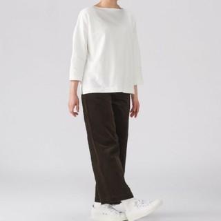 MUJI (無印良品) - ◎最新◎ 無印良品オーガニックコットンドロップショルダーTシャツ/白/M~L
