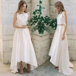 グレコ風 人気なセパレートドレス 高級サテン シンプル ウエディングドレス