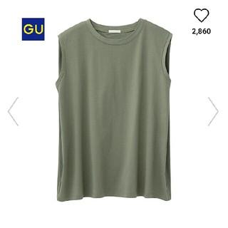 GU - GUマーセライズドノースリーブTオリーブSサイズ