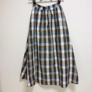 ジーユー(GU)のGU チェックフレアロングスカート(ロングスカート)