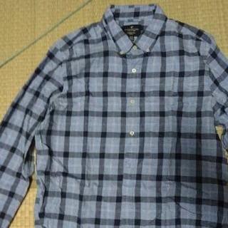 アメリカンイーグル(American Eagle)のチェックシャツ 水色 ブルー Lサイズ スリムフィット アメリカンイーグル(シャツ)