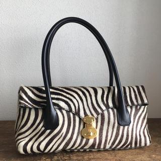 エーディーエムジェイ(A.D.M.J.)の美品 アクセソワ ゼブラ柄 ハラコ ハンドバッグ(ハンドバッグ)
