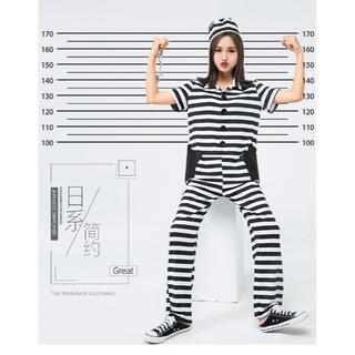 囚人服 コスプレ 衣装 オールインワン ハロウィン 手錠付き 3set(セット/コーデ)