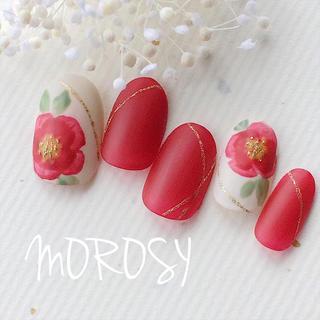 送料込MOROSY31☆椿 ツバキ 赤 マット 和装 前撮り 白無垢 和風ネイル