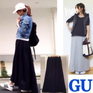ジーユー(GU)のGU スウェットマキシスカート グレー   (ロングスカート)