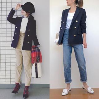 ジーユー(GU)のGU ダブルブレストジャケット ネイビー   S(テーラードジャケット)
