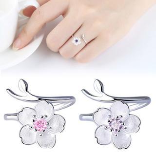 指輪 リング 桜 シルバーリング チェリーブロッサム レディース アクセサリー(リング(指輪))