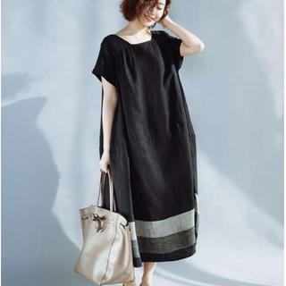 Aライン ふわっと ゆったり ワンピース 綿麻 体型カバー ブラック(ロングワンピース/マキシワンピース)