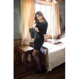 海外で人気 シースルーレース シンプル セクシーリブワンピース♪ブラックMサイズ(ミニワンピース)