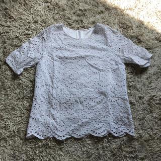 ジーユー(GU)の刺繍レーストップス(シャツ/ブラウス(半袖/袖なし))