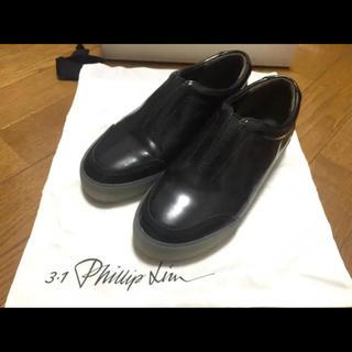 スリーワンフィリップリム(3.1 Phillip Lim)の【美品】フィリップリム ブラック スニーカー 革靴(スニーカー)