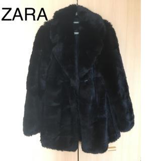 ザラ(ZARA)のZARA ファーコート ブラック(毛皮/ファーコート)