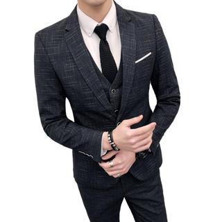スリム 結婚式 ビジネス 入園式 メンズスーツ 3点セット 即購入ok(スーツジャケット)