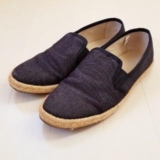 MUJI (無印良品) - スリッポン Mサイズ エスパドリーユ デニム 麻 クッション 紺 フラット