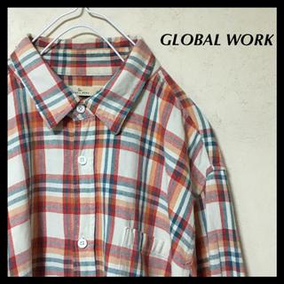 グローバルワーク(GLOBAL WORK)のGLOBAL WORK グローバルワーク 長袖シャツ 大きめサイズ チェック柄(シャツ)