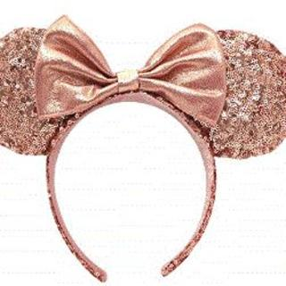 Disney - カチューシャ ミニー マウス ( ローズピンク スパンコール ) リボン