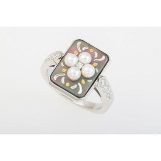 ミキモト(MIKIMOTO)のMIKIMOTO Pt950 ピクウェ・真珠・ダイヤモンド リング B6-411(リング(指輪))